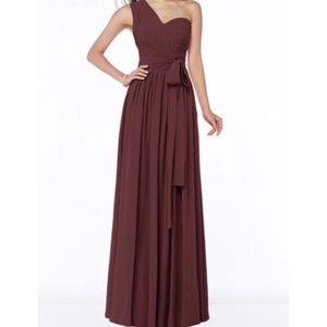 Burgundy One-Shoulder Dress